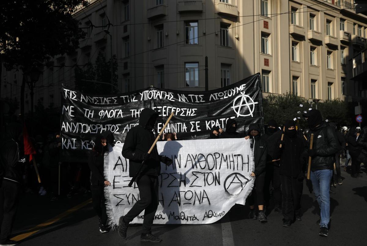 Афины: Марш в годовщину полицейского убийства анархиста