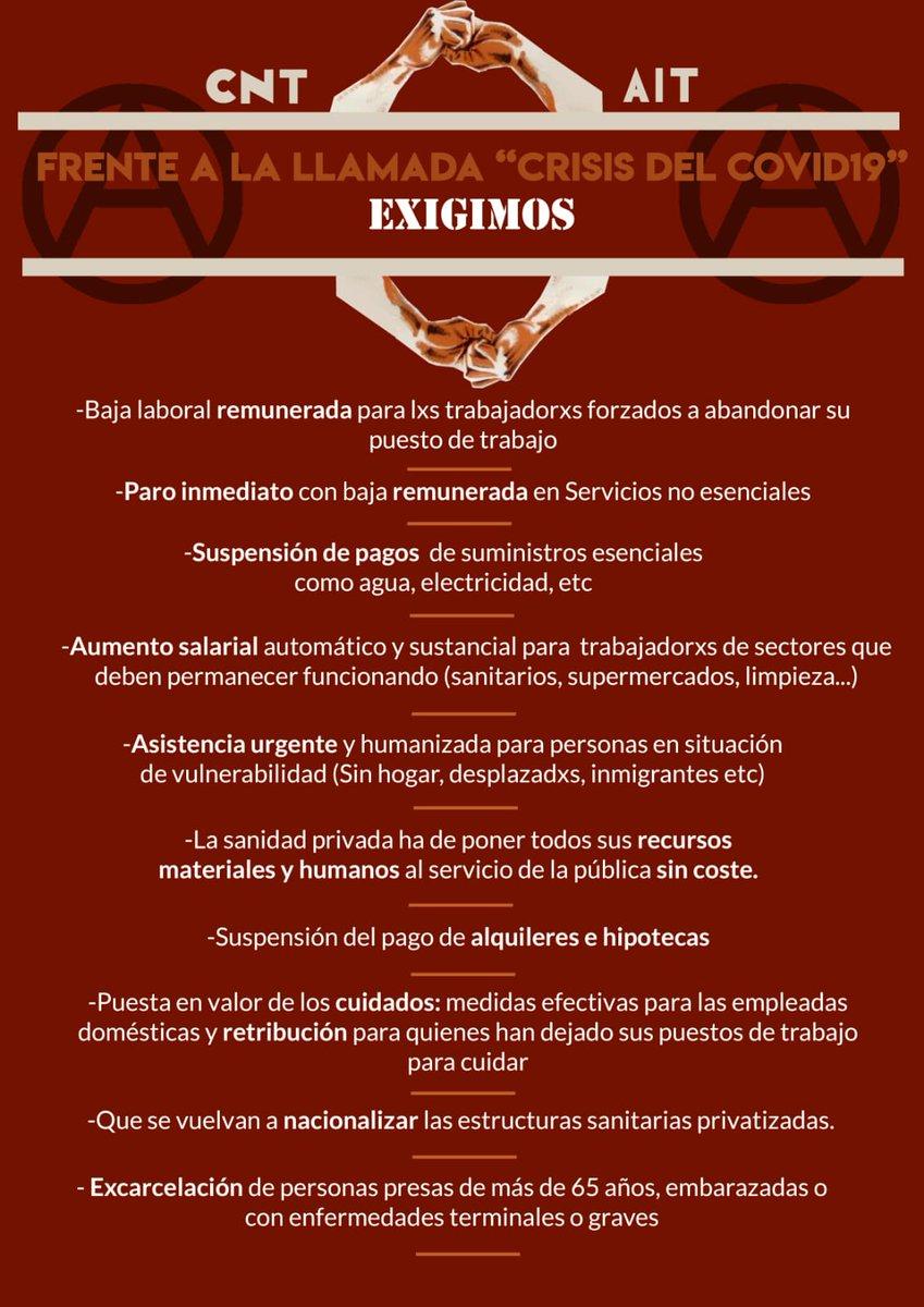 Испания: Заявление CNT-AIT в связи с чрезвычайным положением